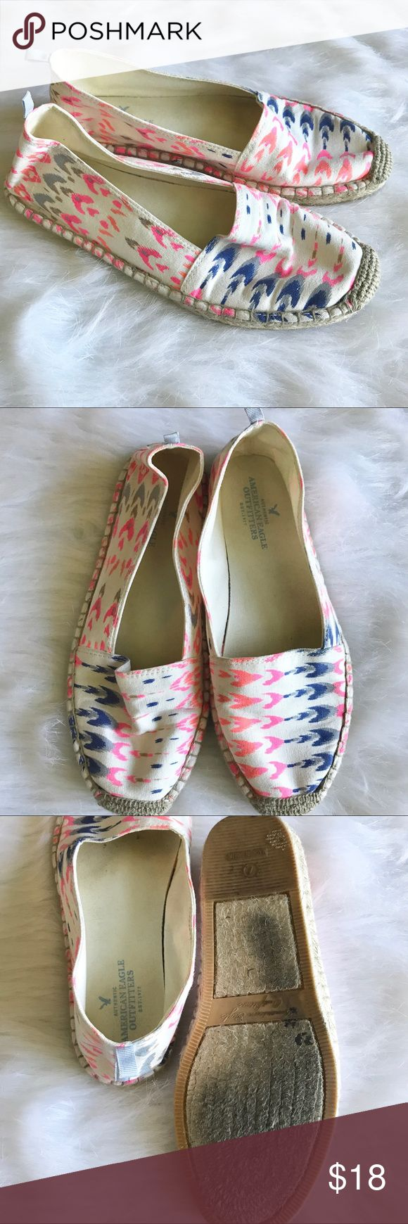 Neon Canvas Slide Ons American Eagle (store) neon canvas slide Ons!!! Super cute. Worn twice! Size 7! Smoke Free Home 🏡 American Eagle Outfitters Shoes