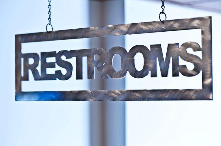 Ei8hty Ni9e West Custom Metal Restroom Sign Interiordesign Howler