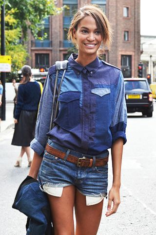 Levi jean cutoffs - I wore mine just like this with the pockets hanging out.  There are pictures somewhere!