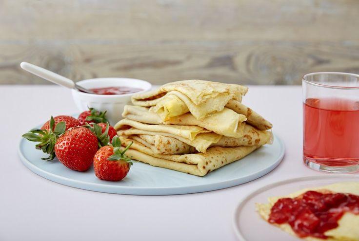 Pannekaker med jordbær