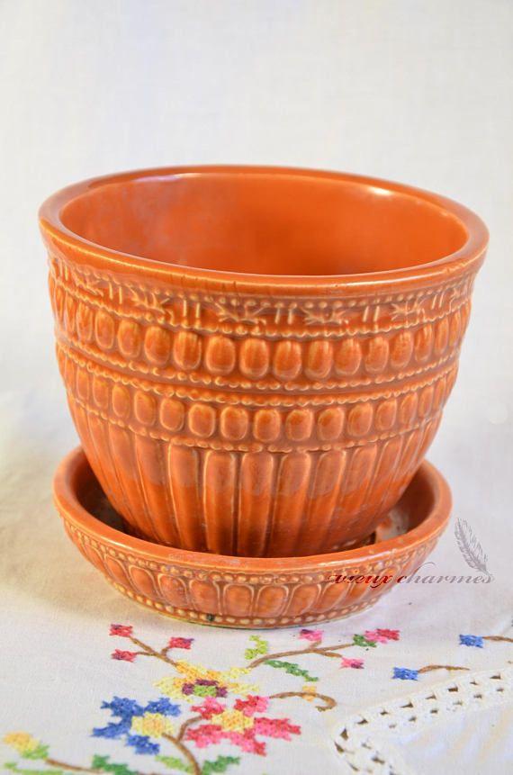 Mccoy Planter Vintage Flower Pot Orange