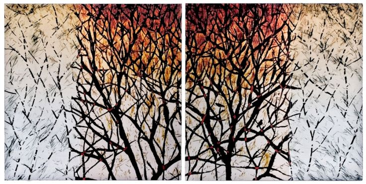 Karin Schminke  -- Within: Without, Pigment Ink and gauze on Aluminum Panel