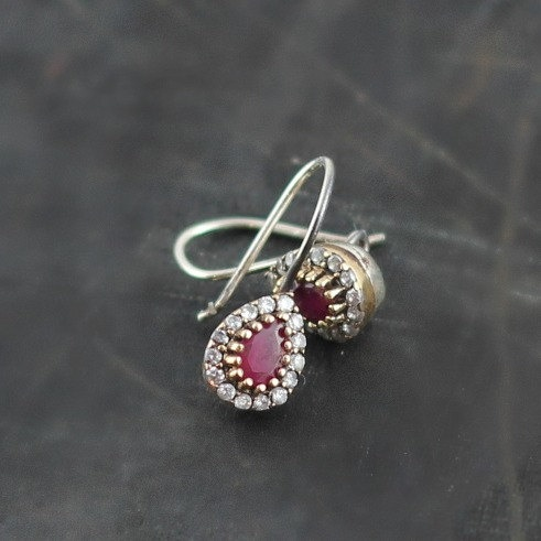 Elegant Ruby Earrings Sterling Silver Tear by anatoliantaledesign, $29.00