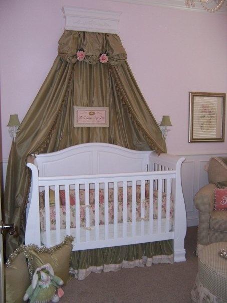 Bella's baby nursery. Green gingham, sage green and pink. elegant baby nursery.