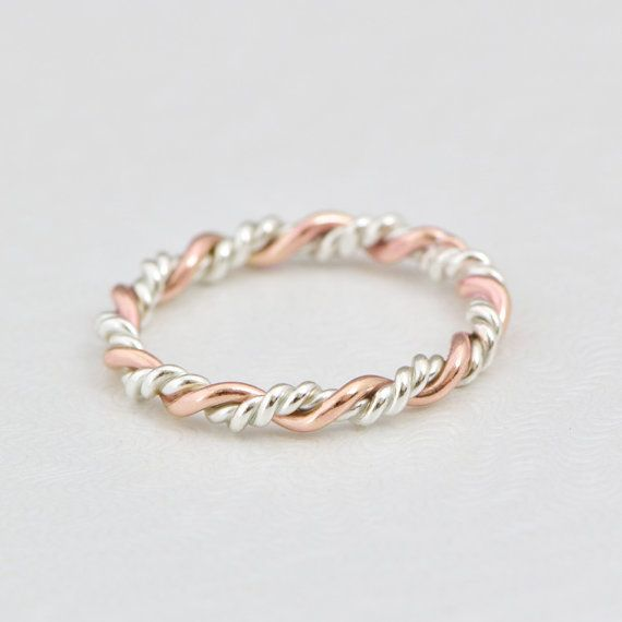 Rose Gold Twist Ring Gold Stack Ring by TheJewelryGirlsPlace