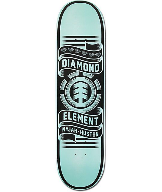 """The Nyjah Huston Collaboration deck from Element and Diamond Supply Co is a Featherlight 8"""" skateboard deck built to Nyjah's exact specs. The Nyjah 8"""" pro model skateboard has a Diamond blue """"Nyjah Huston"""" graphic with Brilliant logos throughout plus a gr"""
