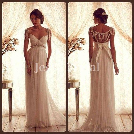 Beading Open back Ivory Chiffon  wedding dress  by JesseBridal, $259.99