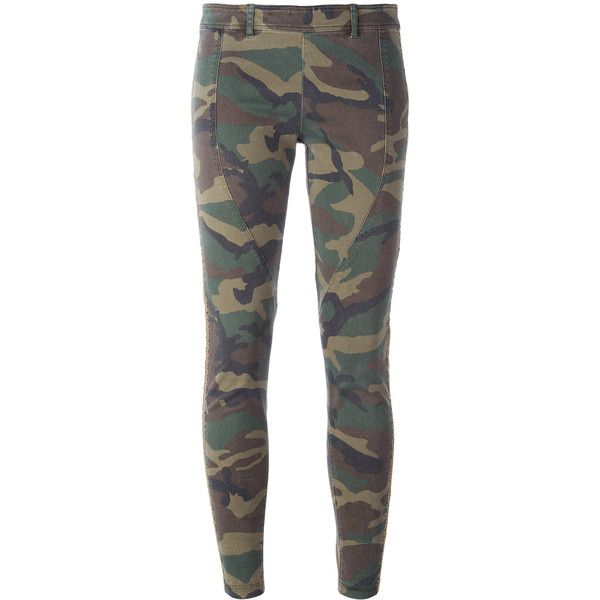 Faith Connexion Camouflage Print Leggings (10,770 MXN) ❤ liked on Polyvore featuring pants, leggings, army camo pants, army trousers, camo print leggings, legging pants and army leggings
