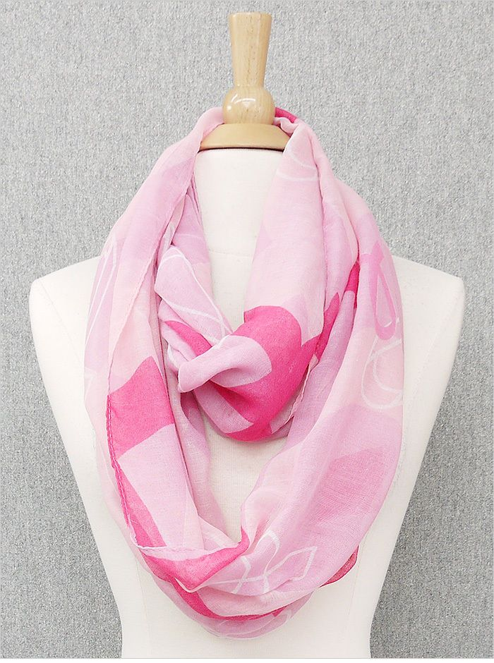 NWT Breast cancer pink ribbon polyester light scarves print scarf fashion spring #EarringsOfTheDay #Scarf