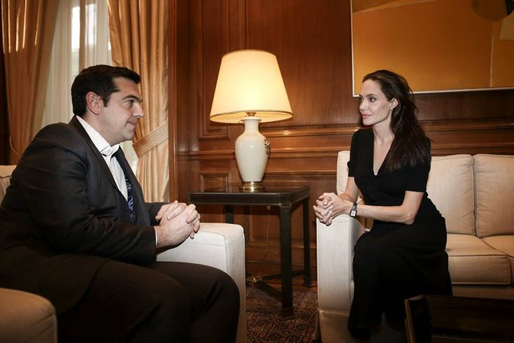 Angelina Jolie Pitt Visits Refugees in Athens, Meets with Greek PM