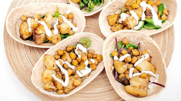 Knasende mettende vegetar-taco
