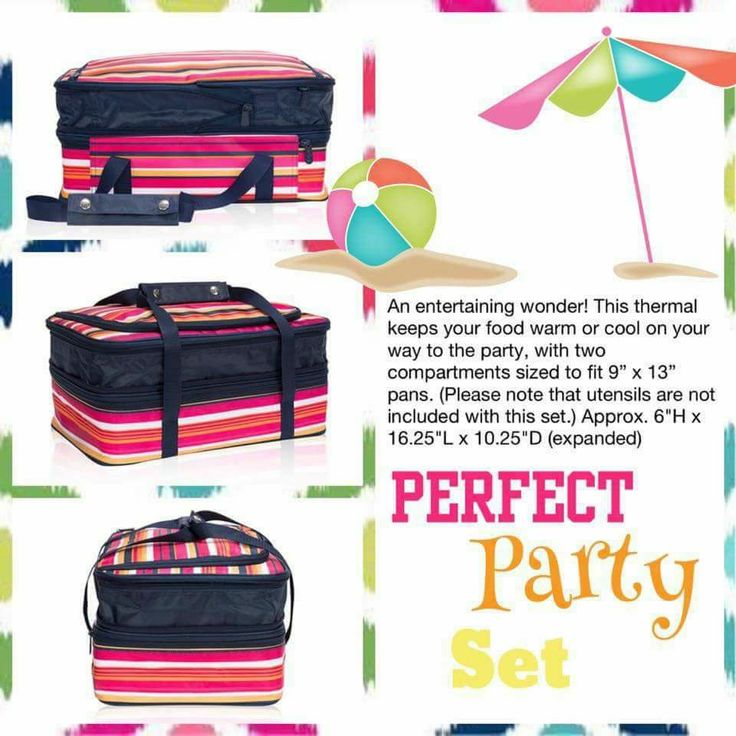 Thirty-One's Perfect Party Set is the perfect summer accessory for your summer potlucks, BBQs, and pool parties! Great for hot or cold foods with 2 insulated compartments! www.thebagdealer.com