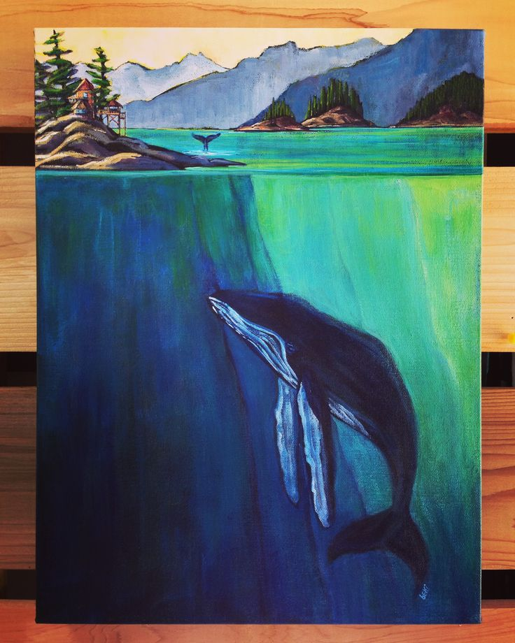 """the wishing whale"" 12x16"" acrylic"
