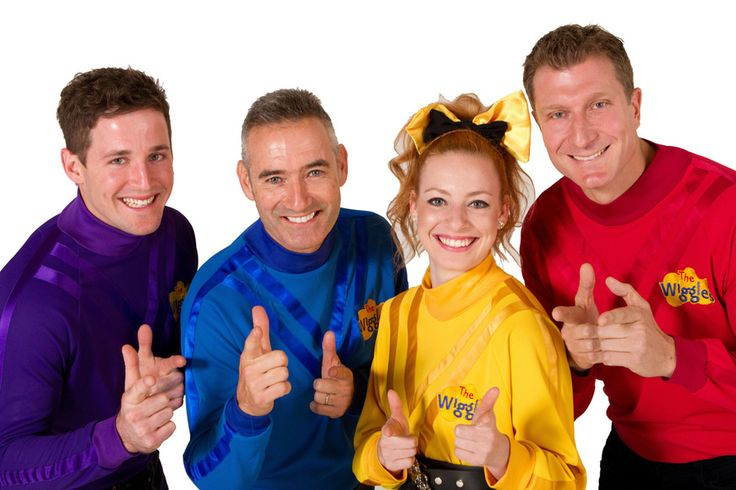 Murray, Jeff, and Greg retired from The Wiggles in 2012. Its now Anthony(blue) with the new Wiggles Simon(red), Lachy(purple), and Emma(yellow)....