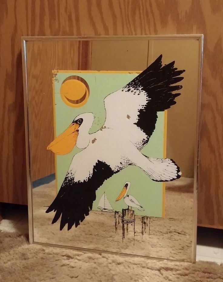 VTG Turner America Painted Mirror Pelican Boat Framed Picture Beach House Decor
