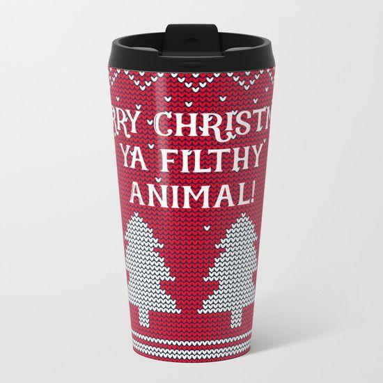 Merry Christmas ya filthy animal - red Metal Travel Mug