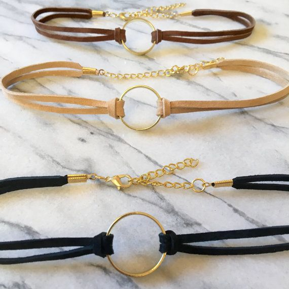 Gold Ring Choker- Black Choker with Gold Ring- Black Choker Gold Charm