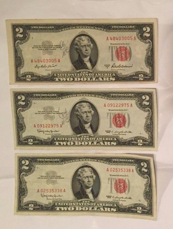1 1953 and 2 1963 Red Seal Two Dollar Bills – #Bil…