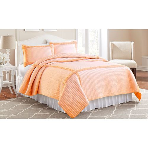 Frame Square Peach Three-Piece Full/Queen Quilt Set - (In No Image Available)