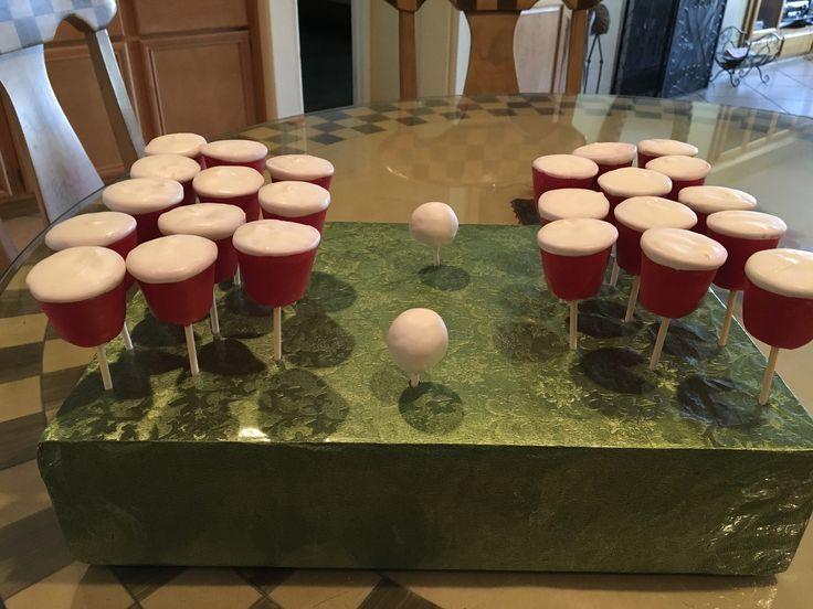 Beer pong cake pops