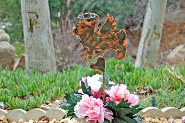Yorkshire Terrier Pet Grave Marker Garden Plant Stake, Metal Garden Art, Copper Art, Dog Pet Memorial, Outdoor Sculpture, Pet Lovers Gift, #metalgardenart #gardensculptures