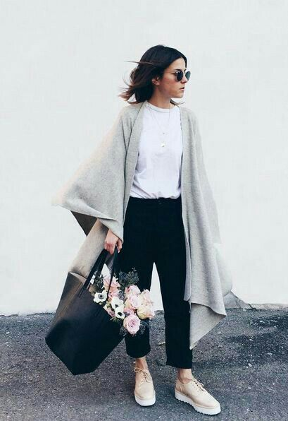 Simple outfit - white t-shirt and black trousers