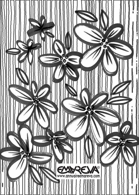 Coloriage de fleurs style naif sur fond de rayures diy pinterest for Dessin ville orientale