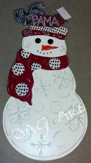 Collegiate Snowman door hanger - Ole Miss, MSU, Alabama, FSU, UGA
