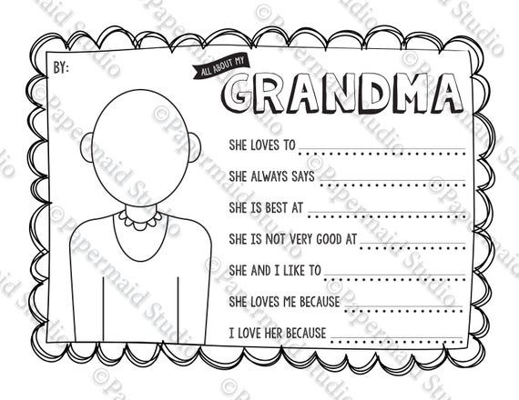 Printable Mother S Day Grandma Portrait Coloring Sheet And Questionnaire Gift C Teacher Appreciation Cards Mothers Day Coloring Pages Teacher Thank You Cards