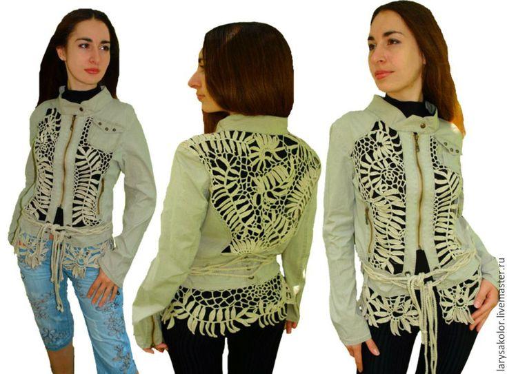 "Купить Куртка""Сафари"" - хаки, куртка женская, кофта женская, кардиган ручной работы, кардиган крючком"