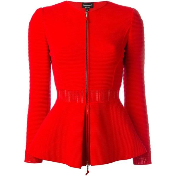 Giorgio Armani Zipped Peplum Jacket (€1.940) ❤ liked on Polyvore featuring outerwear, jackets, red, zip jacket, coral jacket, red zipper jacket, red jacket and red zip jacket