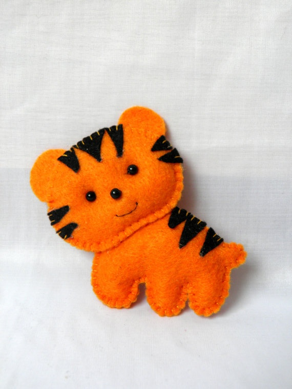 felt toy/ gift for child /felt toy magnets/ tiger/ by Marywool, $8.00
