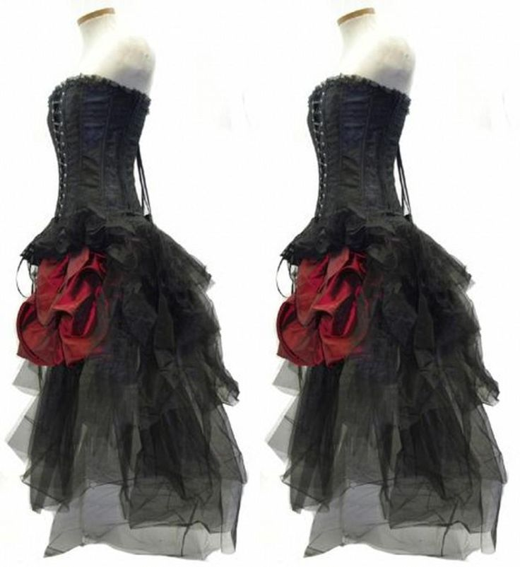 Gothic Corset Fantasy Prom Dresses Beautiful Red And Black Wedding Dress Steampunk Outfit Strapless Hi Lo Bustle Party Gowns from Ilovewedding,$141.37 | DHgate.com