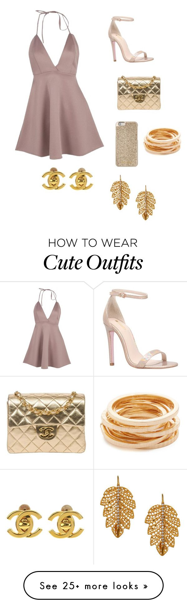 """""""Perfect Cute Girly Outfit """" by lsantana13 on Polyvore featuring Boohoo, Carvela, Chanel, Michael Kors, Kenneth Jay Lane and Marika"""