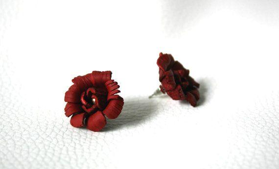 handgemaakte lederen oorbellen rode lederen door milafontaine
