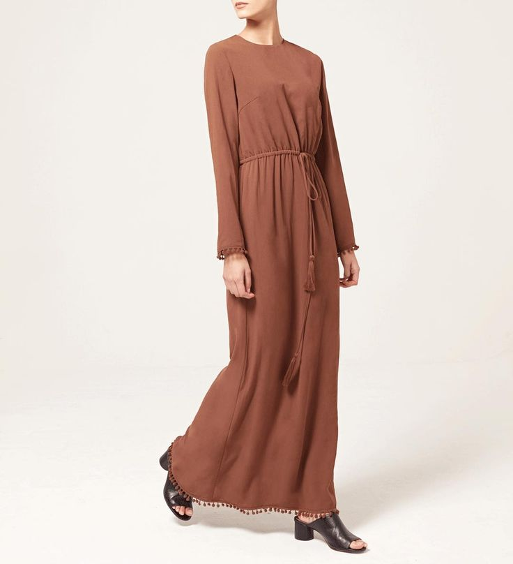 INAYAH | An au courant maxi dress perfect for Summer styling:  Tan Brown Bobble Trim Maxi Dress  www.inayah.co