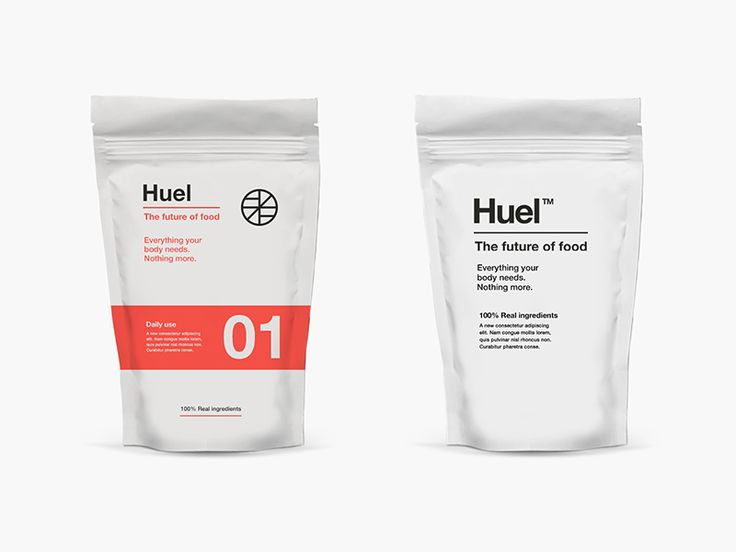 Initial designs for a new type of food. Huel is nutrionally complete powder that contains all the protein, carbs, fats, vitamins and minerals in the perfect ratios. The working brand name is Huel...
