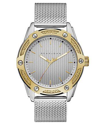 Sean John Men's Corsica Stainless Steel Mesh Bracelet Watch 46mm | macys.com
