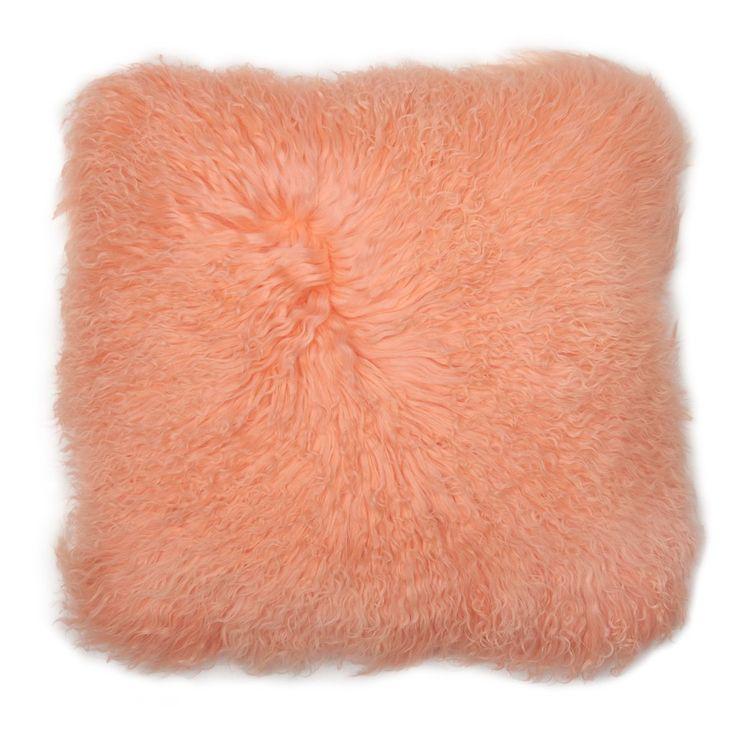 Peach fuzz Mongolian fur pillow. Cream suede back. Arrivesstuffed with a down/feather insert.