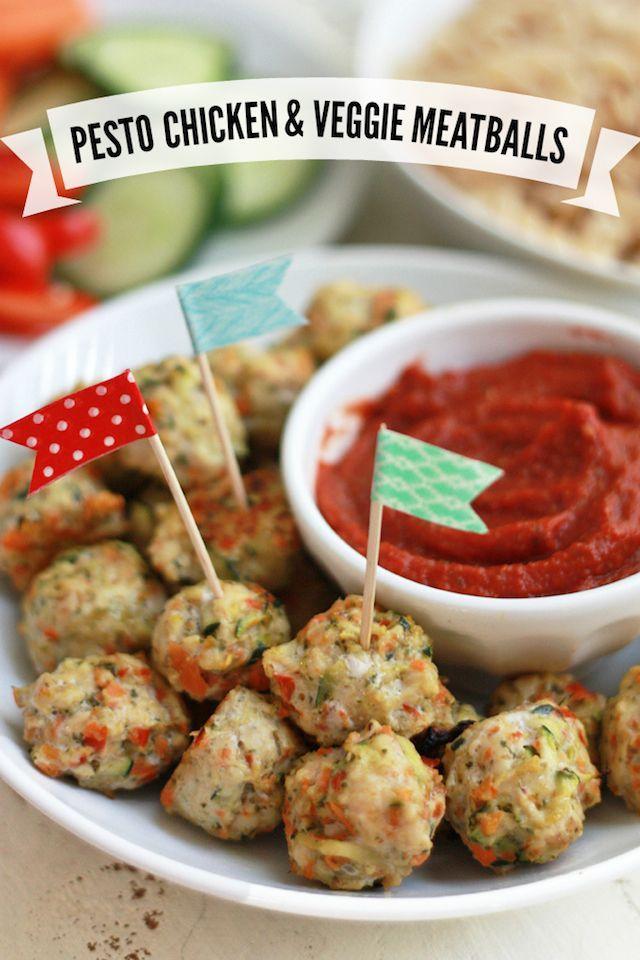 Pesto Chicken Veggie Meatballs | Healthy Ideas for Kids @onelovelylife