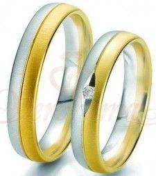 Βέρες γάμου δίχρωμες με διαμάντι Breuning 6231-6232