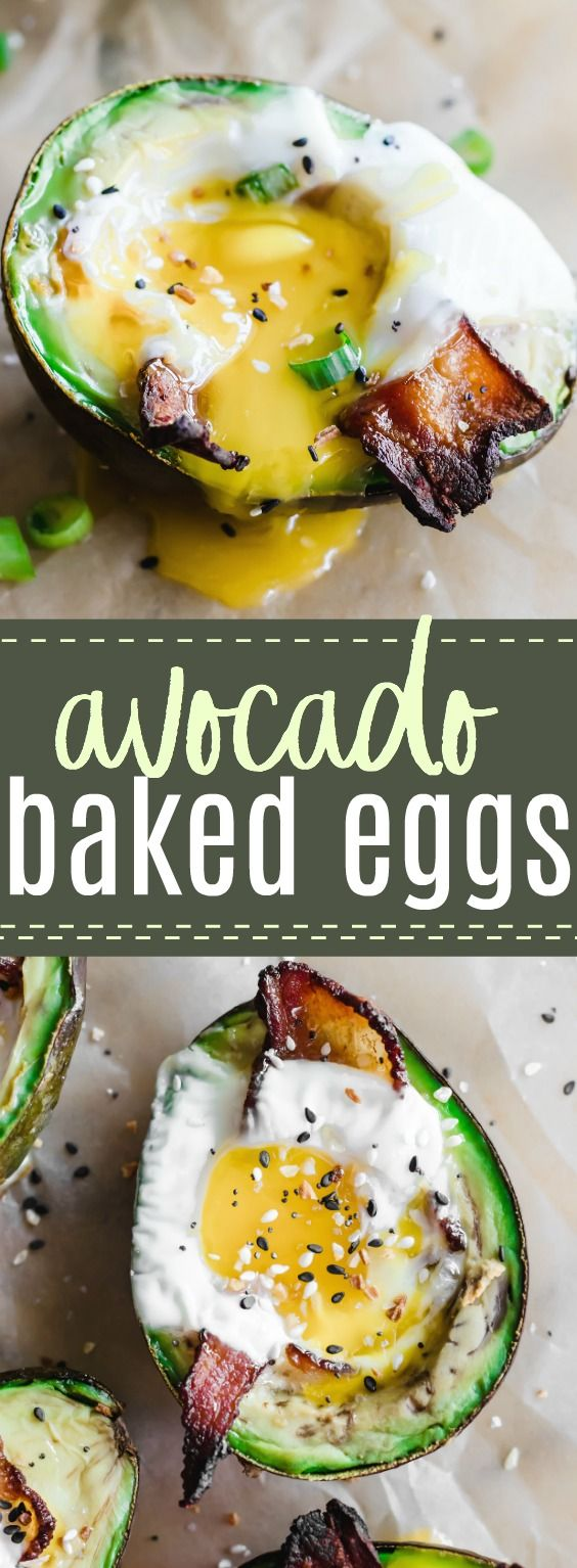 Avocado Baked Eggs with Bacon. Super simple to put together these avocados are filled with bacon and eggs then baked to create a delicious low carb friendly breakfast dish! #keto #lowcarb #avocado #breakfast #egg