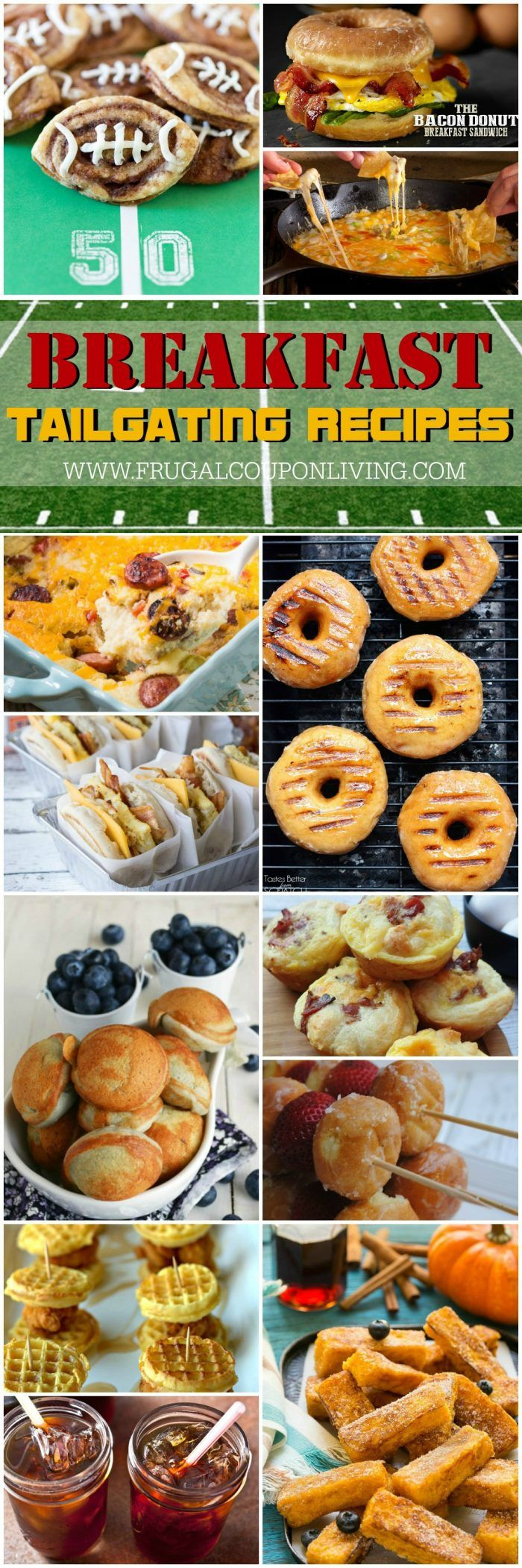 Have an early football game? Take a look at these Early Game Tailgate Recipes for Breakfast on Frugal Coupon Living. Recipes to serve a crowd.
