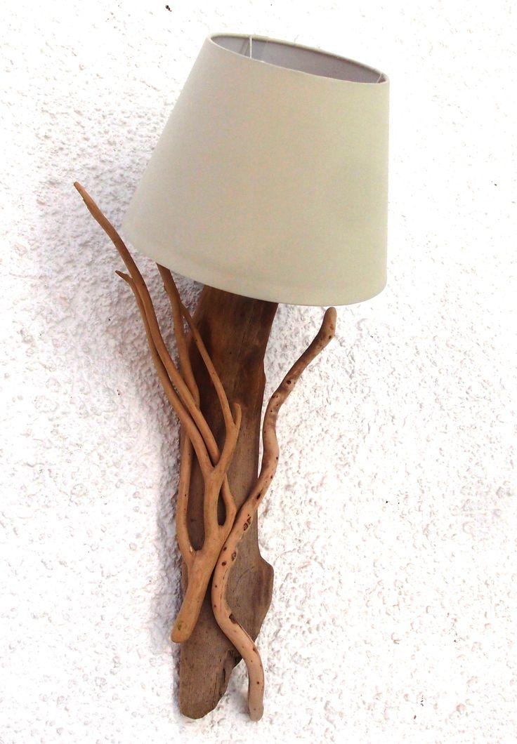 απλίκα φωτιστικό από θαλασσοξυλα με καπελο...υψος 65 cm