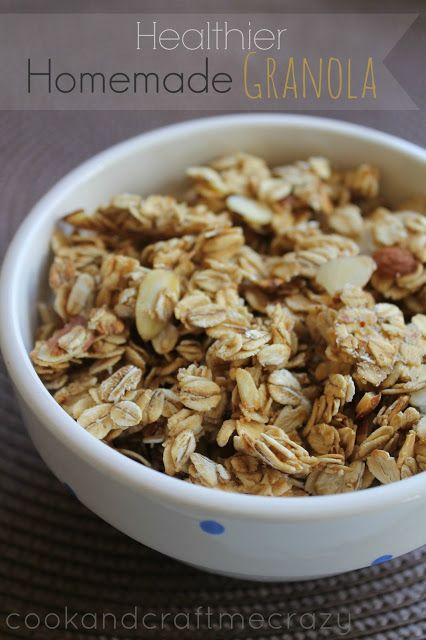 Homemade Granola. Its prettt darn easy! You you can control fat content by choosing nuts or fruit toppings to add in