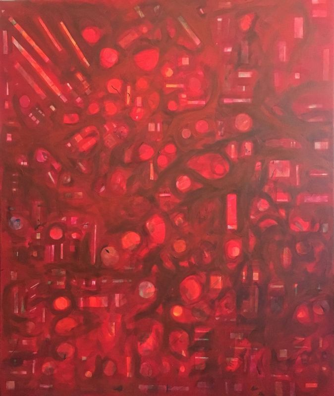 """""""Eros: passion no 17"""" by Anthony Smith. Acrylic painting on Canvas, Subject: Abstract and non-figurative, Geometric style, One of a kind artwork, Signed on the back, This artwork is sold unframed, Size: 100 x 120 x 3 cm (unframed), 39.37 x 47.24 x 1.18 in (unframed), Materials: acrylic"""