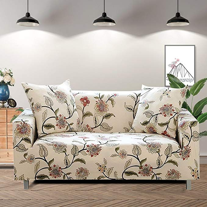 Lamberia Printed Sofa Cover Stretch Couch Cover Sofa Slipcovers For 3 Cushion Couch With One Free Pillow Case Blooming Flower Sofa 3 Seater Review Printed Sofa Slipcovered Sofa Couch Covers