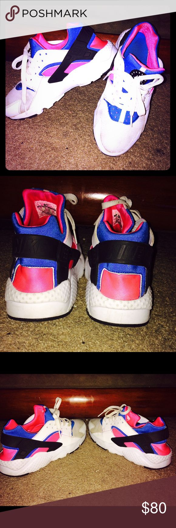 Nike huaraches pink,blue,black, and white Comfortable and only wore twice and in good condition Nike Shoes Sneakers