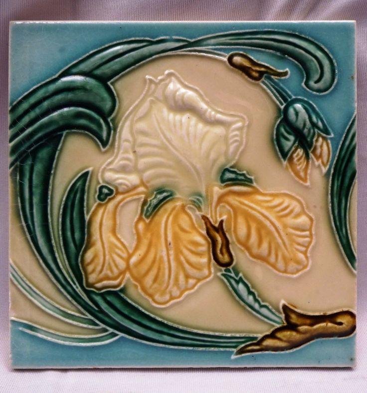 VINTAGE MAJOLICA TILE ART NOUVEAU FLOWER DESIGN ARCHITECTURAL ANTIQUE TILE OLD | eBay