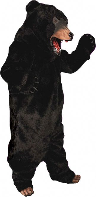 Bear Mascot Costume (Black or White) - Be the king of the forest in this bear mascot costume. The costume is a full fur body suit that zips up the back and has an attached tail. The arms are sealed at the ends and have plastic claws. There are furry shoe covers with plastic claws that slide on top of the shoe. The head fits snug and there is a hole at the mouth to see and breathe. #bear #mens #mascot #yyc #calgary #costume